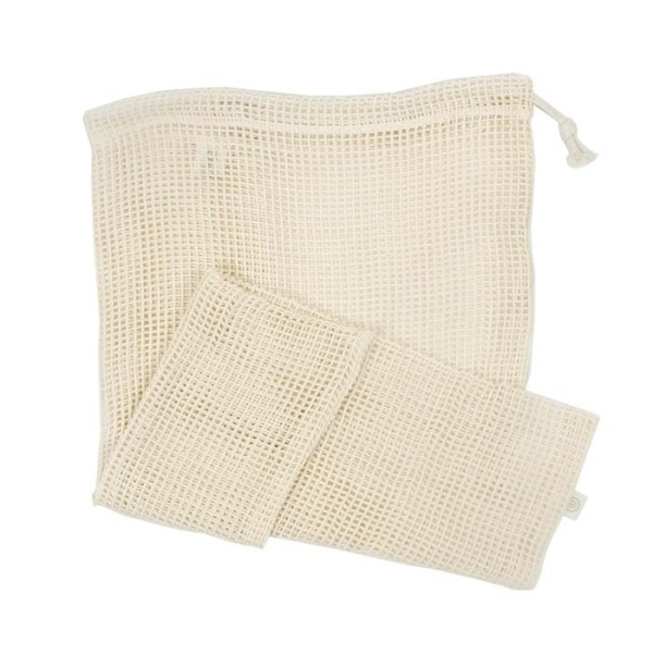 Aufbewahrungbeutel aus Baumwelle Netzgewebe für den Einkauf wiederverwendbar 43x50cm