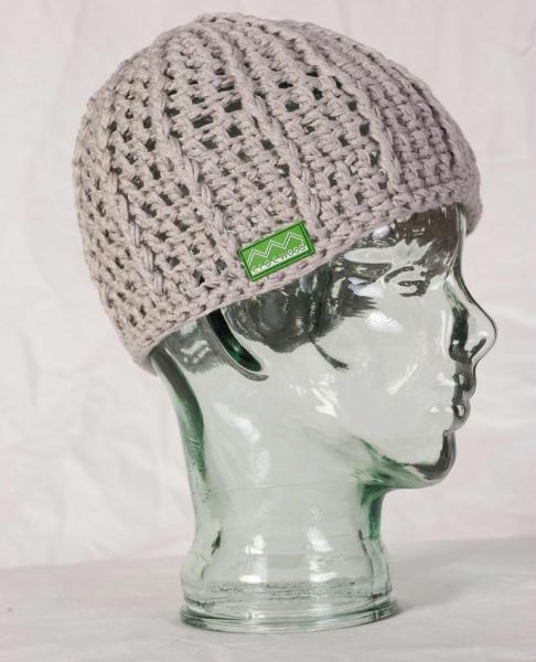 Mütze handgestrickt Soja Baumwolle Bambusbaumwolle Grau