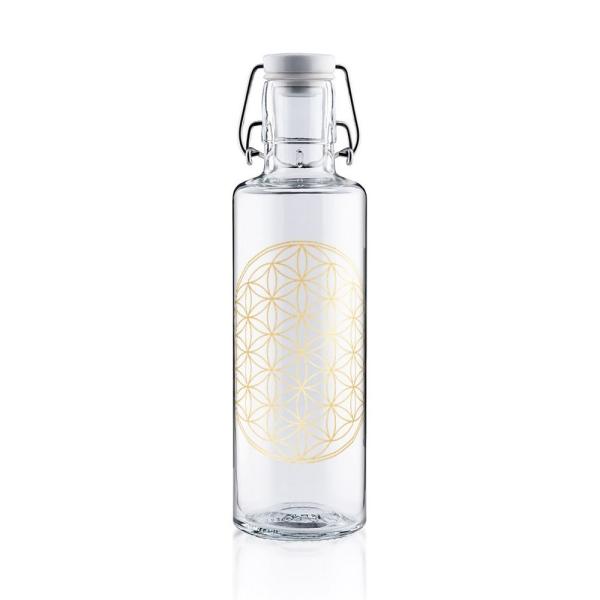 0,6L Soulbottle Trinkflasche aus Glas - Blume des Lebens