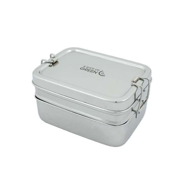 Edelstahl Brotdose Doppeldecker inkl. Mini Lunchbox von A Slice of Green