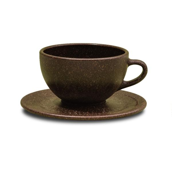 Milchkaffee Tasse mit Untertasse aus Kaffeesatz