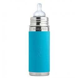 Pura Kiki Edelstahl-Isolierflasche mit Sauger 260ml - Sleeve Aqua