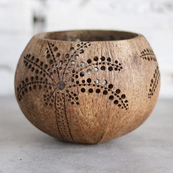 Kerzenhalter aus Kokosnuss Handarbeit Motiv Palme