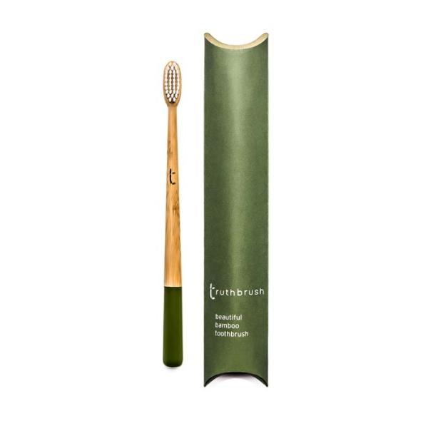 truthbrush – Bambus Zahnbürste mit Rizinusöl-Borsten Olive