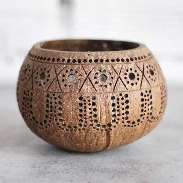 Kerzenhalter aus Kokosnuss Handarbeit Motiv Hippie