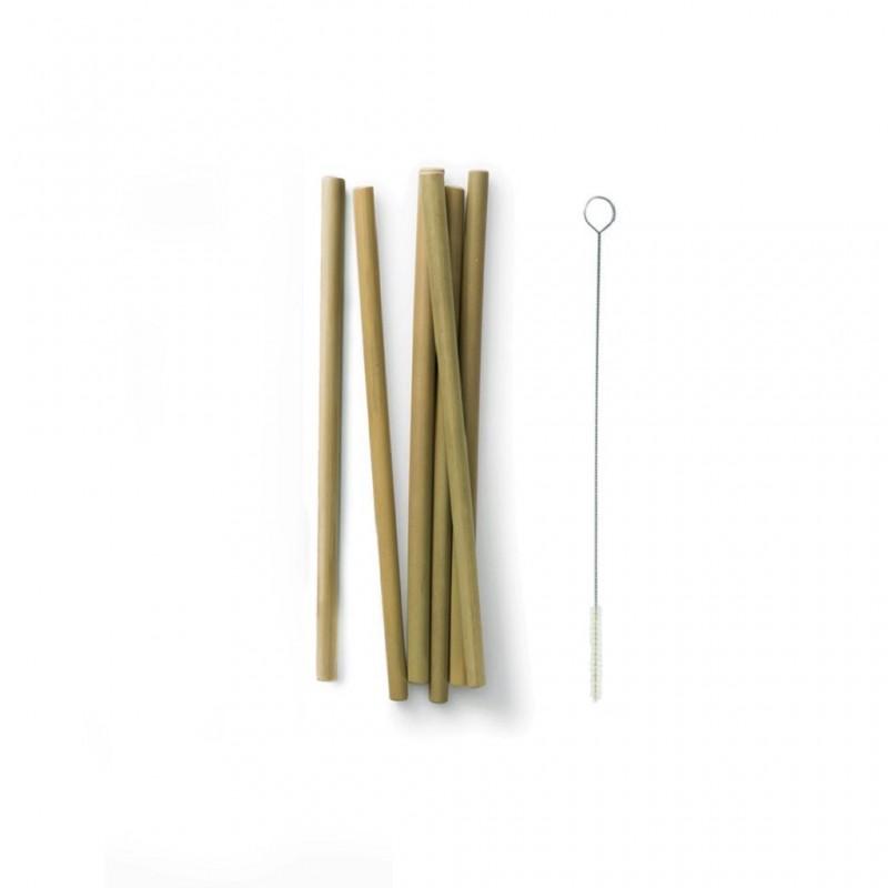 Bambus Strohhalme 6er Set