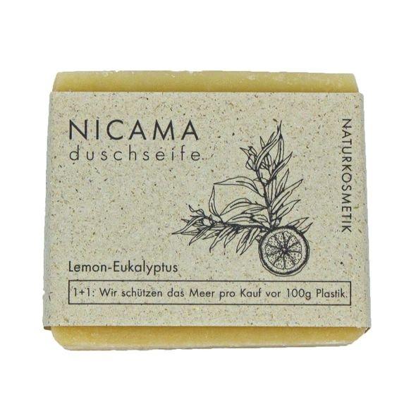 NICAMA Duschseife Lemon-Eukalyptus Naturkosmetik 100 Gramm Handgeschöpft
