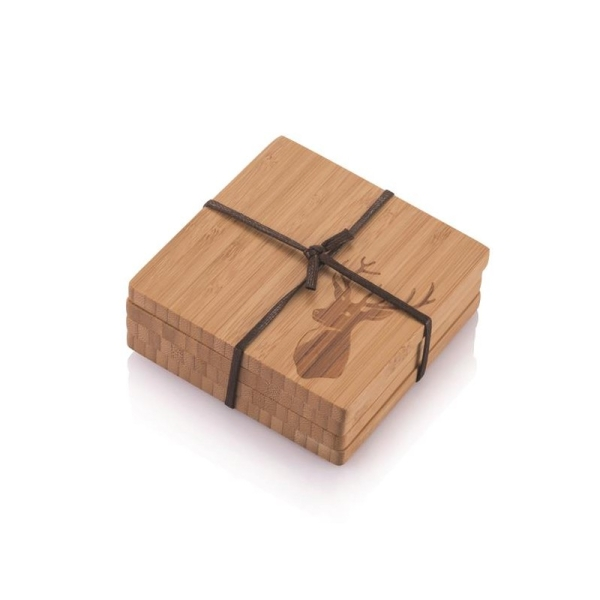 Bambus Untersetzer 4er Set (je 9,5×9,5×0,8cm) Motiv Hirsch