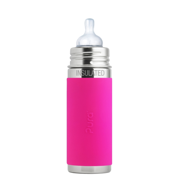 Purakiki Isolierflasche mit Sauger 250ml Rosa