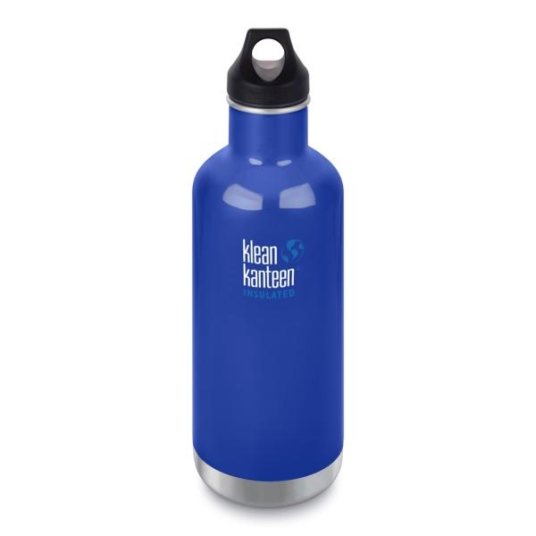 Klean Kanteen Edelstahl Trinkflasche Classic isoliert mit Loop Cap 946ml - Coastal Waters