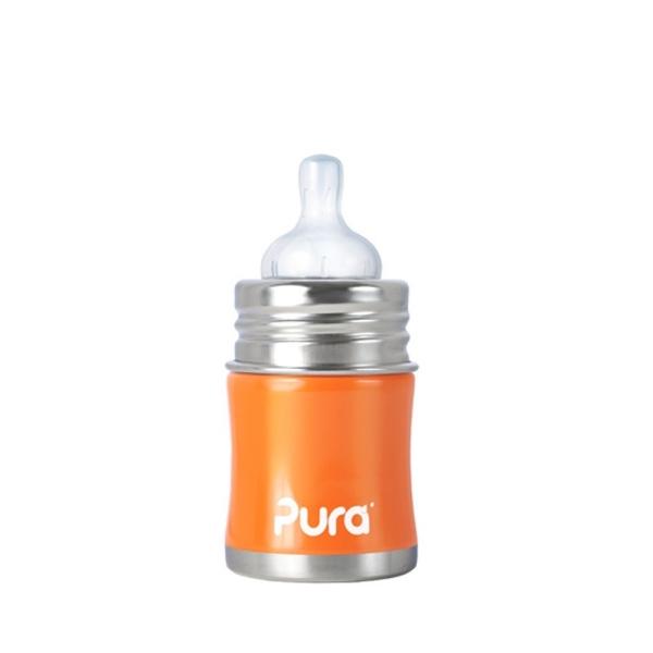 Pura Kiki Edelstahl Mini Babyflasche (150 ml) Farbe Orange
